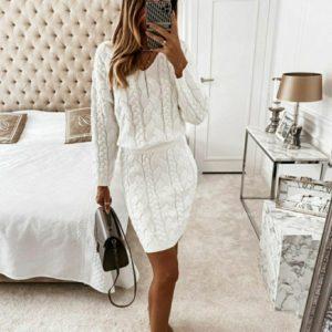 Купить молочный костюм вязкой косички женский с юбкой (размер 42-56) по низким ценам
