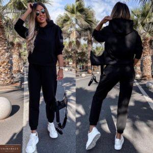 Заказать черный трикотажный женский костюм с джоггерами средней посадки (размер 42-48) недорого
