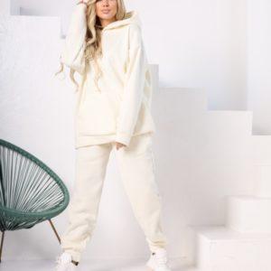 Заказать женский спортивный белый костюм-комбинация с худи (размер 42-48) дешево