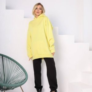Купить выгодно женский спортивный костюм-комбинация с худи (размер 42-48) черный/желтый