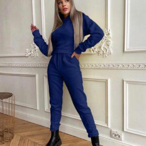 Купить синий женский теплый костюм онлайн с фигурным швом под грудью