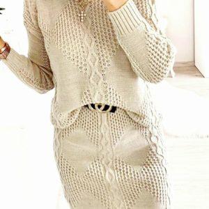 Заказать по скидке женский вязаный костюм ромбик с юбкой (размер 42-54) бежевого цвета