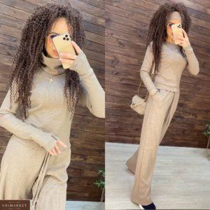 Купить бежевый женский костюм тройка: кофта, штаны и шарф-хомут по скидке