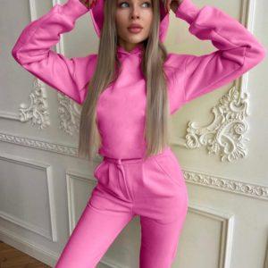Заказать в интернете женский теплый костюм с фигурным швом под грудью розовый