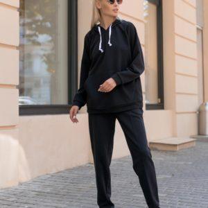 Купить черный плотный женский спортивный костюм оверсайз (размер 42-56) в интернете