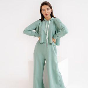 Заказать фисташка женский спортивный костюм оверсайз с необработанными краями (размер 42-48) в Украине