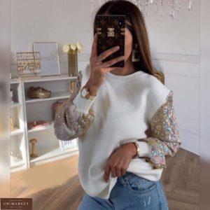 Приобрести недорого белого цвета свитер с пайетками на рукавах для женщин