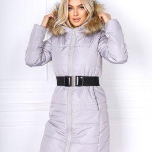Заказать серого цвета куртку для женщин с поясом и капюшон с мехом кролика (размер 42-48) по скидке