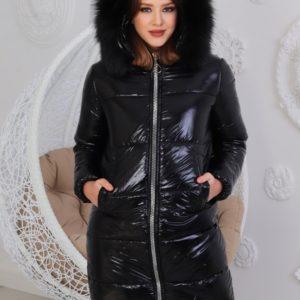 Купить женскую удлинённую черную теплую куртку с фигурным низом (размер 42-60) онлайн