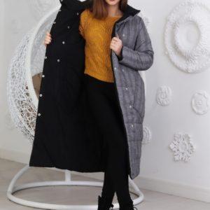 Купить черно-серую удлиненную женскую двухстороннюю куртку на заклепках (размер 42-48) дешево