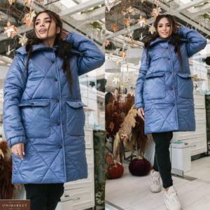 Заказать голубую женскую объемную куртку с двойными карманами (размер 42-52) по скидке