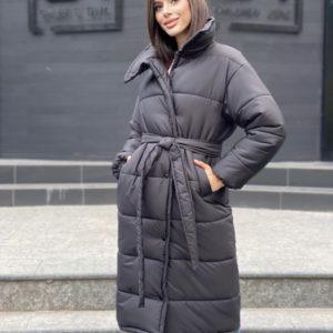 Купить черного цвета женскую длинную утепленную куртку с поясом (размер 42-48) в интернете