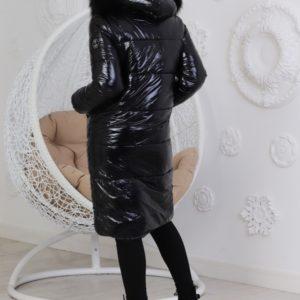 Приобрести онлайн женскую удлинённую теплую куртку с фигурным низом (размер 42-60) черного цвета