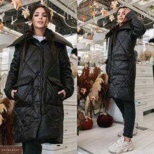 Купить черную объемную куртку на зиму с двойными карманами (размер 42-52) женскую недорого