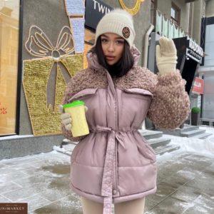 Купить пудра куртку оверсайз на поясе женскую с рукавами барашек по скидке