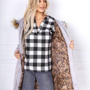 Заказать серую куртку для женщин с поясом и капюшон с мехом кролика (размер 42-48) по скидке