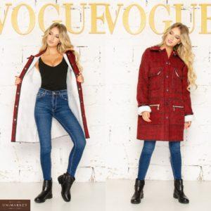 Заказать женское пальто красного цвета в клетку на меху (размер 42-56) недорого