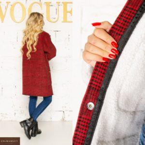 Приобрести по скидке красное пальто в клетку на меху (размер 42-56) для женщин