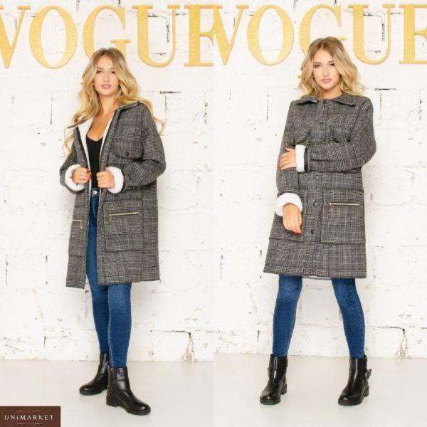 Купить женское пальто серое в клетку на меху (размер 42-56) недорого