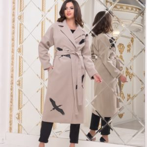 Заказать женское кашемировое пальто бежевого цвета с принтом журавли (размер 42-56) недорого