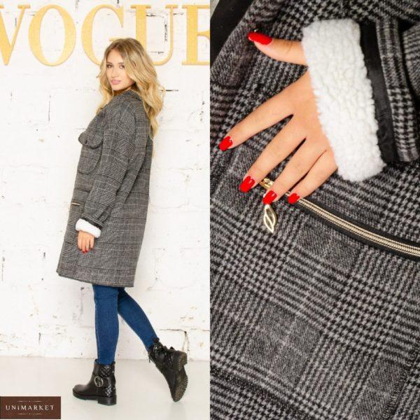 Приобрести серое пальто в клетку на меху (размер 42-56) для женщин в интернете