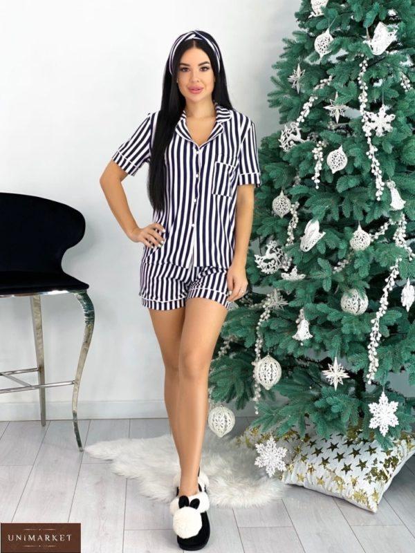 Купить сине-белую полосатую женскую пижаму с коротким рукавом и шортами+повязка (размер 42-48) онлайн