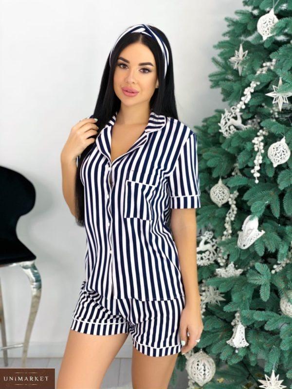 Заказать на распродаже женскую полосатую пижаму с коротким рукавом и шортами+повязка (размер 42-48) сине-белого цвета