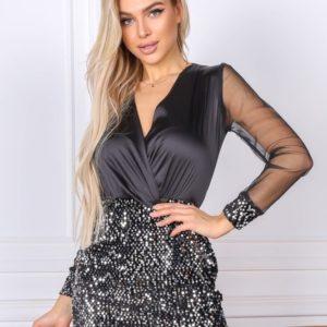 Заказать черное женское платье мини с пайетками и прозрачными рукавами (размер 42-48) недорого