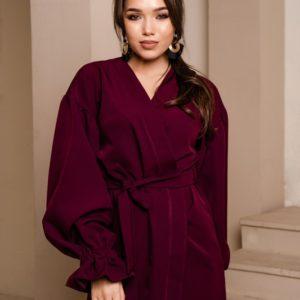 Заказать цвета марсала платье на запах женское с поясом и объемными рукавами в интернете