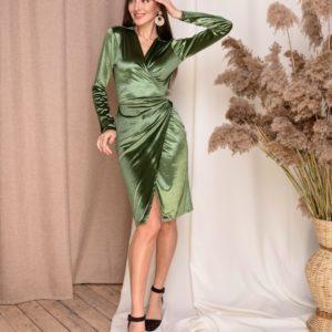 Заказать женское бархатное зеленое платье на запах (размер 42-48) недорого