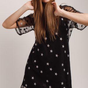 Купить черное платье со звездами на сетке (размер 42-48) для женщин онлайн