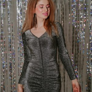 Купить серебро женское платье из люрекса с затяжкой спереди (размер 42-48) дешево