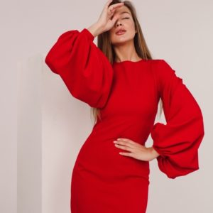 Купить красное платье для женщин мини с объемными рукавами-фонариками онлайн