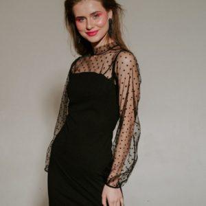 Купить в интернете черное платье гольф с принтованной сеткой (размер 42-48) для женщин