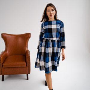 Купить онлайн синее шерстяное платье в клетку с талией на резинке (размер 42-48) для женщин