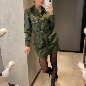 Купить женское платье по скидке мини в стиле милитари цвета хаки