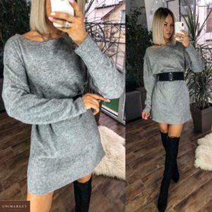 Купить серое свободное женское платье из ангоры с поясом онлайн