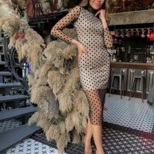 Заказать в интернете платье-гольф из сетки в горошек черного цвета для женщин
