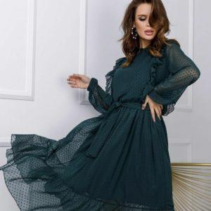 Купить зеленое женское платье в горошек из сетки флок с рюшами (размер 42-48) по скидке
