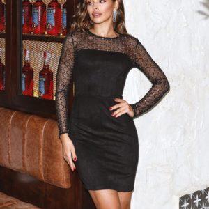 Заказать женское замшевое черное платье с прозрачными длинными рукавами (размер 42-48) по скидке
