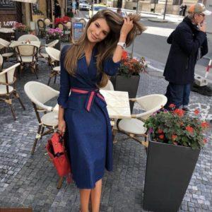 Заказать синее джинсовое женское платье с юбкой солнце с поясом (размер 42-56) недорого