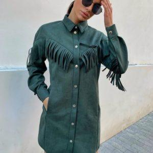 Купить зеленое замшевое женское платье с бахромой в стиле милитари по скидке