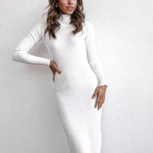 Купить женское платье-гольф макси белое из плотного трикотажа онлайн
