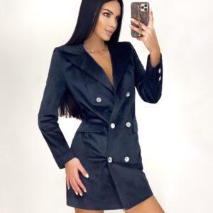 Купить черное платье-пиджак для женщин мини из бархата недорого