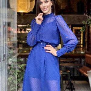 Купить синее закрытое платье для женщин из шифона в точку дешево