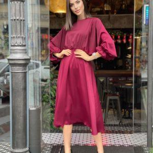 Купить женское свободное платье бордового цвета миди из креп-шелка (размер 42-48) онлайн