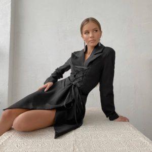 Заказать женское черное платье-пиджак с имитацией корсета онлайн