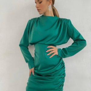 Купить изумрудное элегантное шелковое платье для женщин мини выгодно