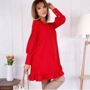 Купить женское платье свободного кроя с длинным рукавом (размер 42-48) красного цвета по скидке