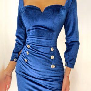 Купить синее женское приталенное платье из бархата с открытыми плечами онлайн